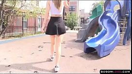 Upskirt flashing pussy in public