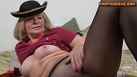 Blonde Mature Milf Cindy Takes Off Halloween Costume and Masturbates In Black Pantyhose