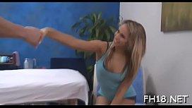 Beautiful drilled hard by her massagist