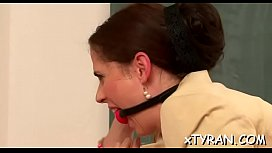 Mature babe gets gagged and dominated by juvenile slut