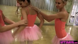 Stunning busty teen ballerinas shows the lesbian way