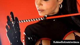 Black Latex Babe RubberDoll Fingers Her Hairy Wet Pussy!