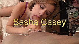 Sexy babe Sasha Casey spreads her legs for huge cock