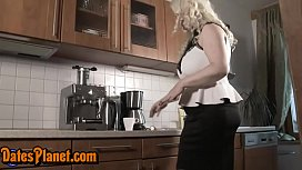 Hot Blonde Mom Gets Fucked At Kitchen