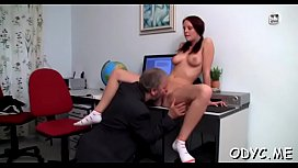 Mischievous redhead Zuzana with large natural tits adores blowjobs