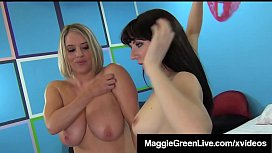 Curvy Lady Maggie Green &amp_ Brit Samantha Bentley Suck A Cock!