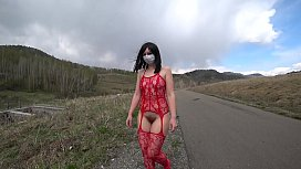 Exhibitionism and fetish in public places outdoors. Big ass and hairy pussy are walking on the road. Compilation.