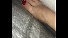 Cumshot on sleeping wife'_s feet