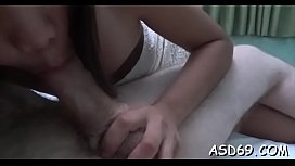 Slutty asian babe helps a horny chap relax by giving head