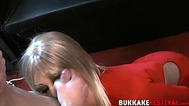 Blonde Porscher Wells sucking off multiple cocks