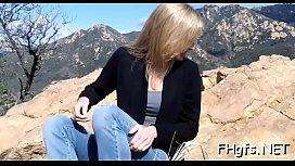 Raunchy blonde Jas blows penis