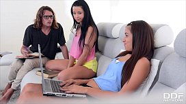 XXX study session with Taissia Shanti &amp_ Cindy makes stud cum all over them