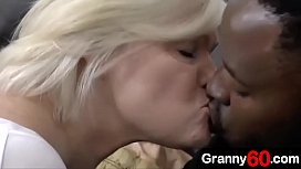 Step granny knows how lucky she is when a new grandson with big black cock comes her way