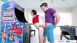 Petite chick banged by big horny bf