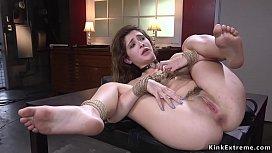 Huge black dick in tied up petite babe