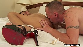 Big cock is reserved for her gaping pussy in bed