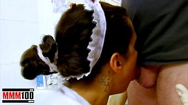 Fucking the french maid hard in the ass and making her squirt