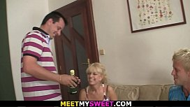 Shaved pussy blonde girl involved into family threesome
