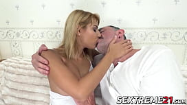Young nympho licked and fucked by lucky old man