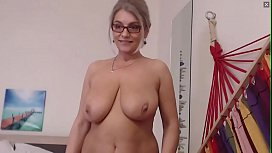 Stunningly Beautiful Older MILF With Big Tits and Glasses Strips and Cums for Me on Cam