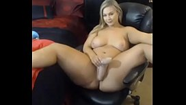 Hot blonde with big boobs masturbate