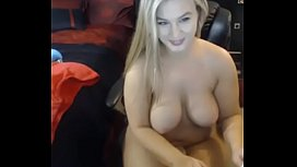 Hot blonde with big boobs masturbate
