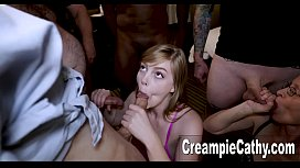 Her 1st Ever Creampie Gangbang