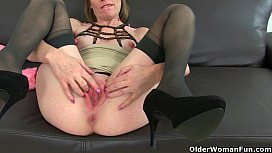 British milfs Sexy P and Diana in stockings with suspenders