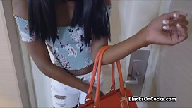Beautiful black teen lubed and fucked hard