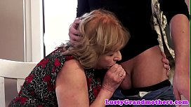 Busty euro grandma sucking and cockriding