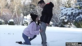 Playing in the snow leads to anal sex