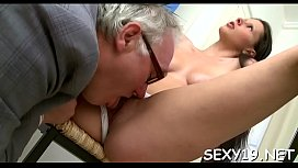 Fascinating babe is getting spooned by lustful old teacher