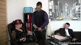 Office bitch pleases two cocks