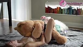 HOT BLONDE BABE FUCKS TEDDY BEAR