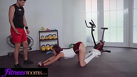 Fitness Rooms Big cock personal trainer fucks sexy redhead on exercise bike