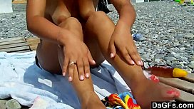 Amateur couple quickie sex on a beach