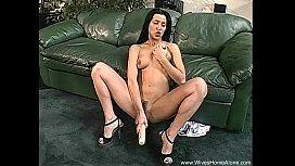 Skinny Horny Wife With Dildo Alone