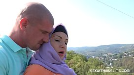 Sexy muslim bitch fucking on rock outside