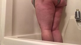 Katie pissing her panties and showering off