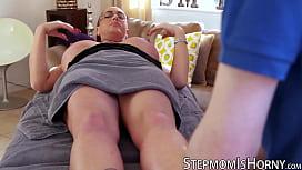 UK redhead Emma Butt riding stepson after massage