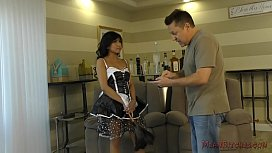 Asian Maid Makes Her Wimp Client Kiss Her Ass - Femdom