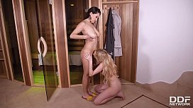 Sultry spa seductions with busty bombshells Amber Jayne &amp_ Cristina Miller