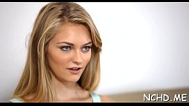 Tempting nubile seduces a stylish male interviewer