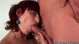 Granny Wanda gets a good fuck and creamy facial