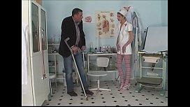 Patient surprised nurse in masturbation with giant dildo and fucks her hard