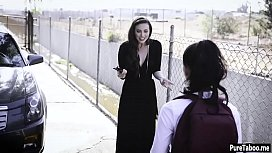 Deranged married couple takes and fucks school teen