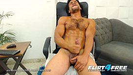 Antoine Johnson - Flirt4Free - Muscle Worship Big Uncut Cocked Latino Stud