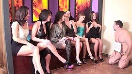 Sadistic Glamour Girls humiliate slaves