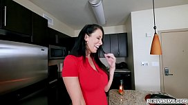Smoking hot MILF Reagan Foxx enjoys getting hammered by her stepsons giant dick.
