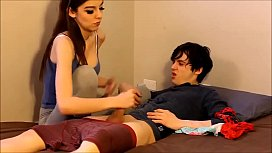 Stranded teen sister caught her brother jerking off to her panties